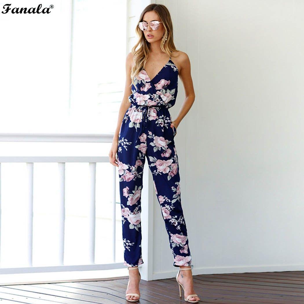 Fanala 2018 verano mujeres elegantes Mamelucos jumpsuit casual impresión floral bodysuit sin mangas v-cuello largo playsuits para las mujeres #20