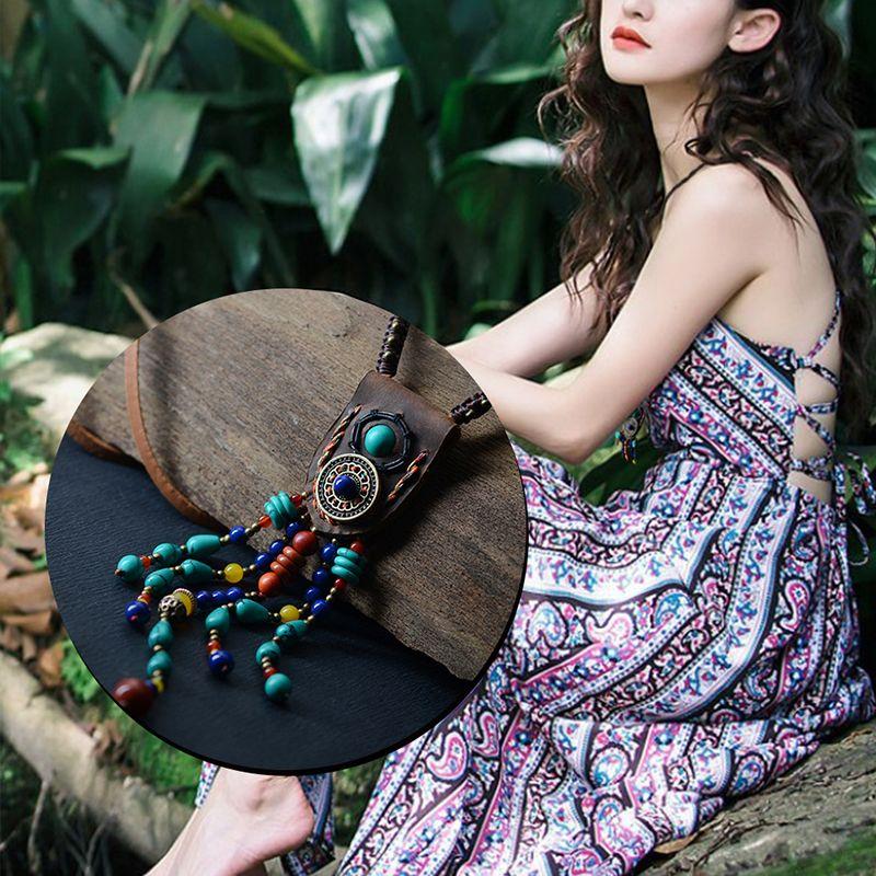 Boho bijoux ethnique maxi long Collier femmes en cuir chaîne pierre paon plume pendentifs bohème mode 2018 Dropshipping