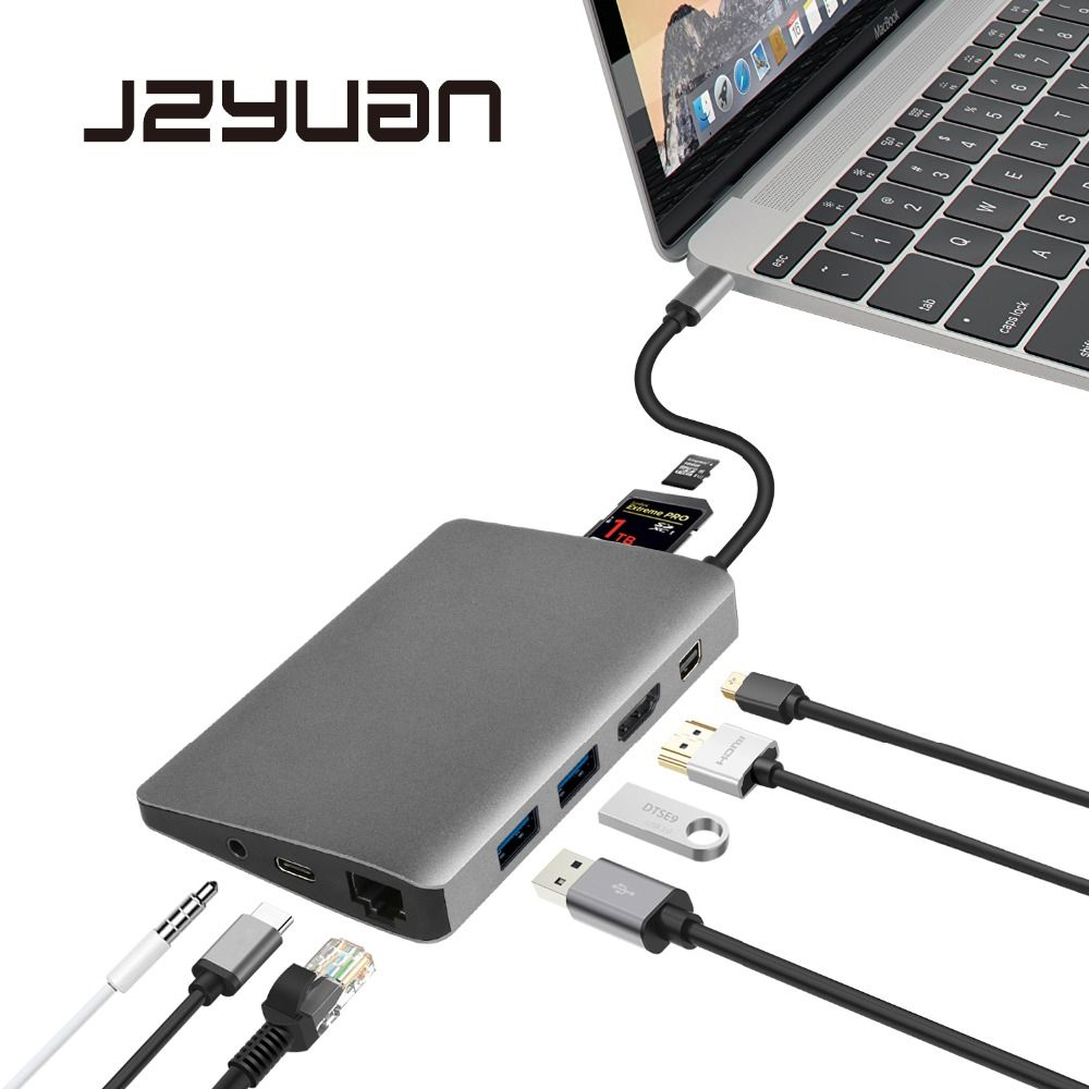 JZYuan USB C Type C 3.1 Hub to HDMI Mini DP 3.5mm Audio Ethernet Adapter For Samsung Galaxy S9 Huawei P20 Pro Type-C USB 3.0 HUB