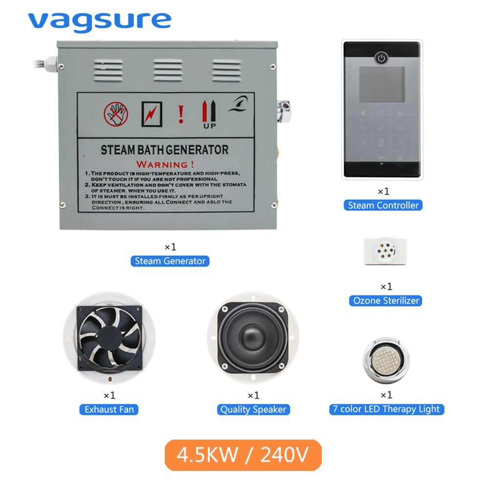 AC 220 V CE Zertifiziert Ferngesteuerte 4.5KW Heimgebrauch Dampfdrehknopf Pad Sauna Spa Bad Metall Generator Für Bad dusche
