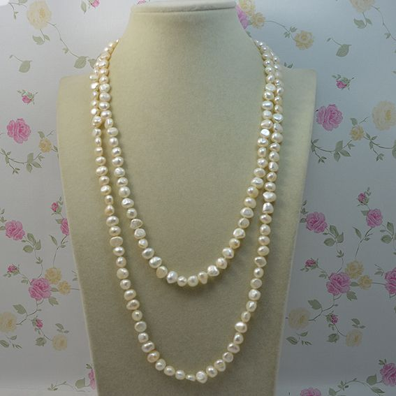 Terisa Pearljewelry Genuine Freshwater Pearl Necklace 7-8mm Baroque Pearl 120cm Long Necklace More Color For Choose