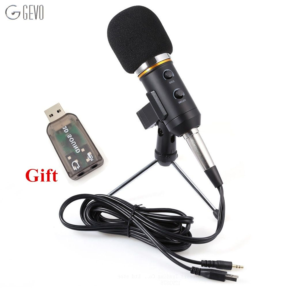 MK-F200FL Professional Handheld Condenser Microphone USB Computer Microphone Stand Tripod Wired 3.5mm Jack For Recording Studio
