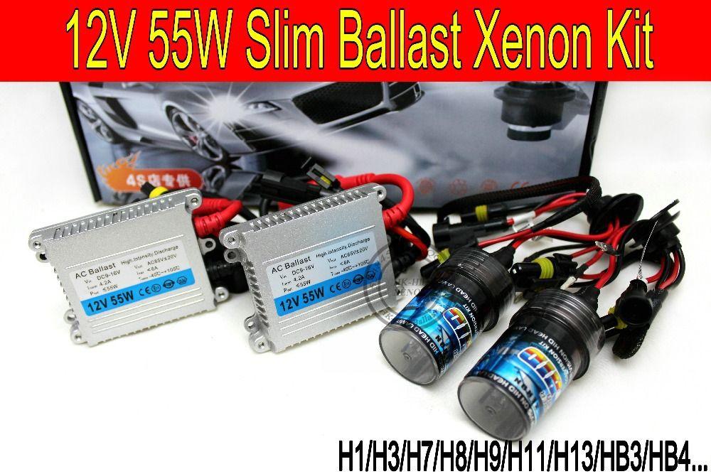 Free shipping High quality 12V 55W hid xenon kit H1 H3 H7 H9 H11 H4 Bi xenon Hi/Low 9005 9006 6000K hid kit xenon for Headlight