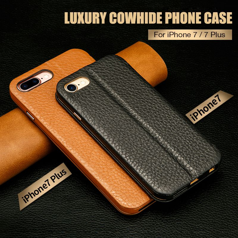 Jisoncase Genuine Leather Phone Cases for iPhone 7 7 Plus Case Leather Magnetic Mobile Flip Smart Cover for iPhone 8 8 Plus 5.5