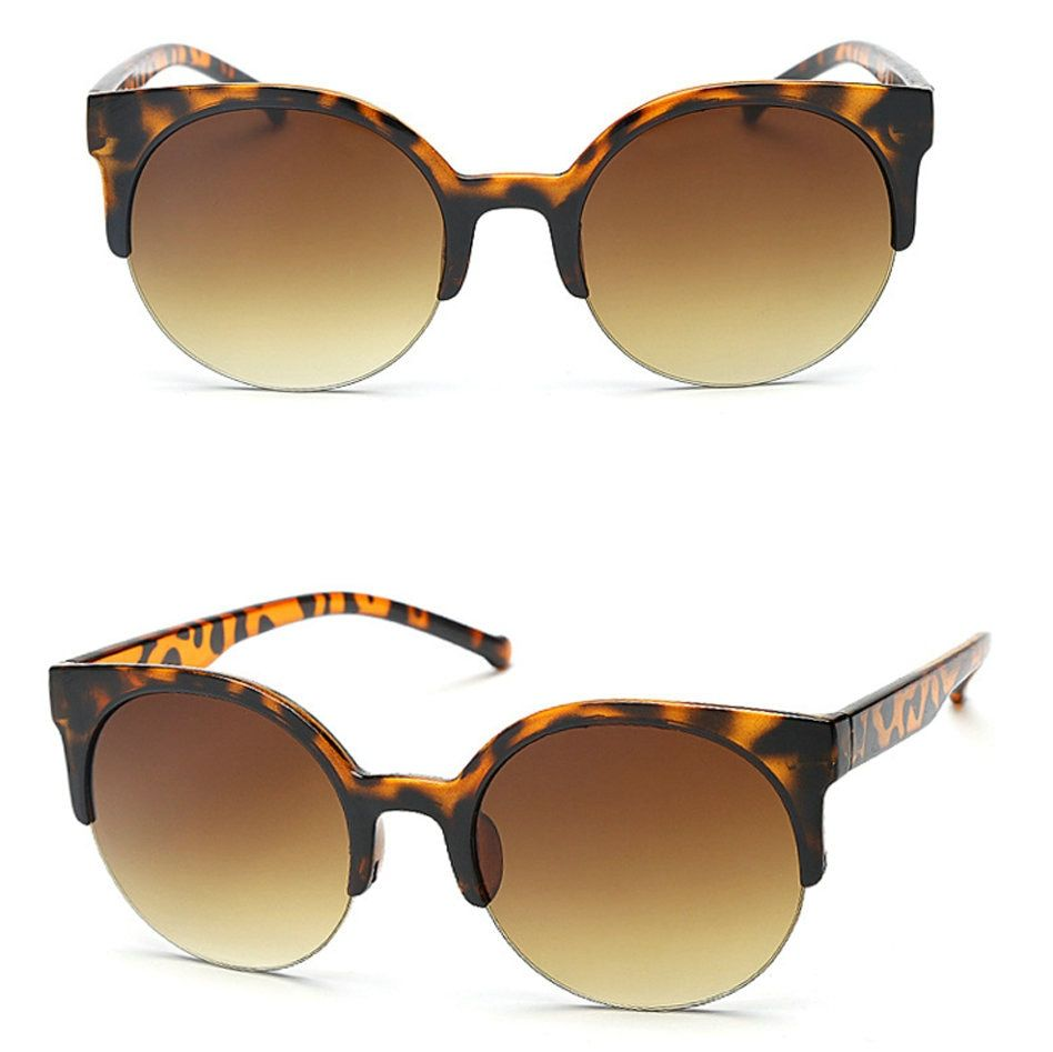 Hot Sales! Brand Vintage Women Sunglasses Men Black <font><b>Leopard</b></font> Round Frame Cat Eye Glasses Female Eyewear Mirror Glasses BG130-135