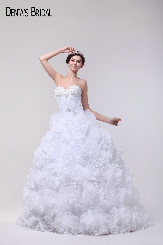Puffy Vestido De Bola Del Cuello Del Amor Moldeado Acanalado Applique Vestidos de Novia Por Encargo