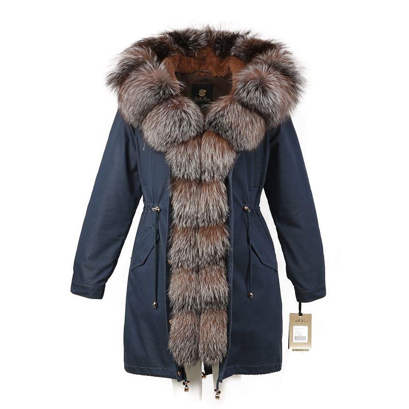 Womens winter parkas coat jacket fox raccoon collar detachable rabbit fur liner denim black beige golden white blue red 16079