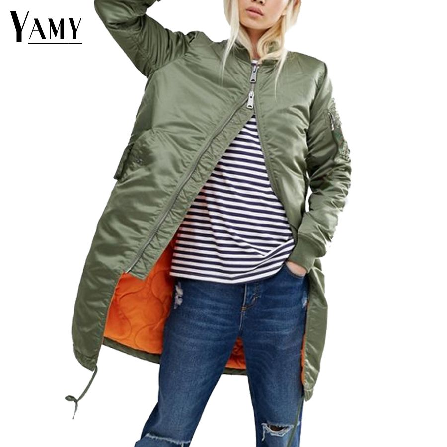 Winter long jackets and coats 2017 spring female coat casual  military olive green bomber jacket women basic jackets plus size
