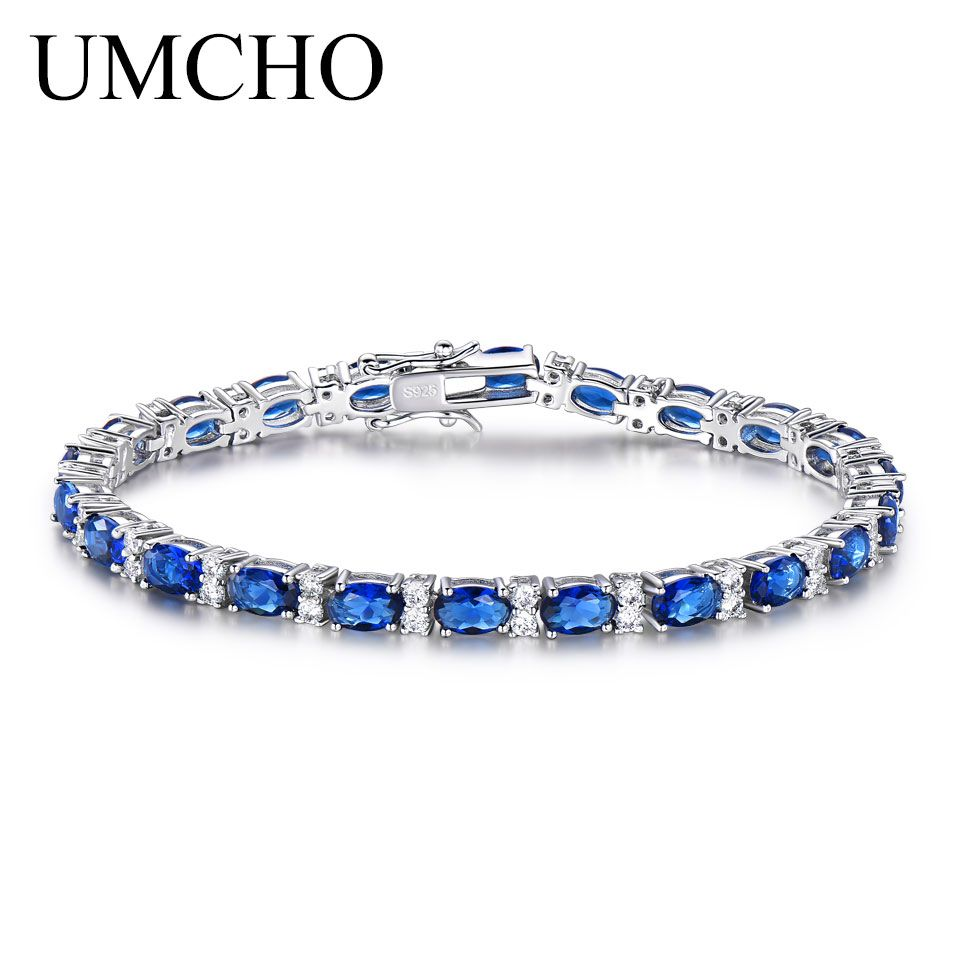 UMCHO Created Blue Sapphire Bracelet For Women 100% 925 Sterling Silver Jewelry Romantic Wedding Jewelry Gift 2018 New