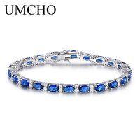 UMCHO creado pulsera de zafiro azul para las mujeres 100% de la joyería de la plata esterlina 925 romántico de regalo de la joyería de la boda, 2018 nuevo