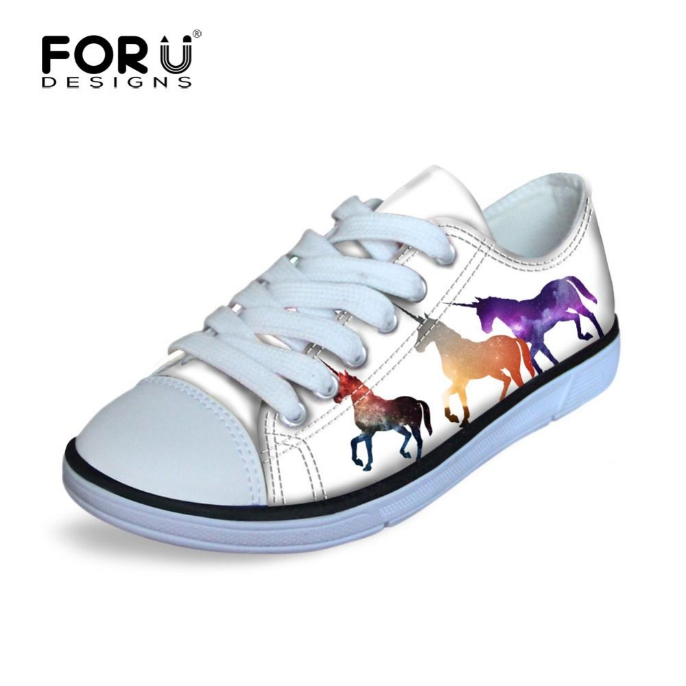 Spring Autumn White Black Unicorn Kids' Sneakers Galaxy Animals Rainbow Color Outdoor Running Cycling Flat Shoes Anti Skip Boys