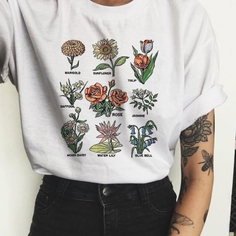 T-shirt graphique Wildflower femmes imprimé Floral T-shirt femmes plante de soleil ces Tee-Shirt unisexe Grunge 90 s mode voyage hauts