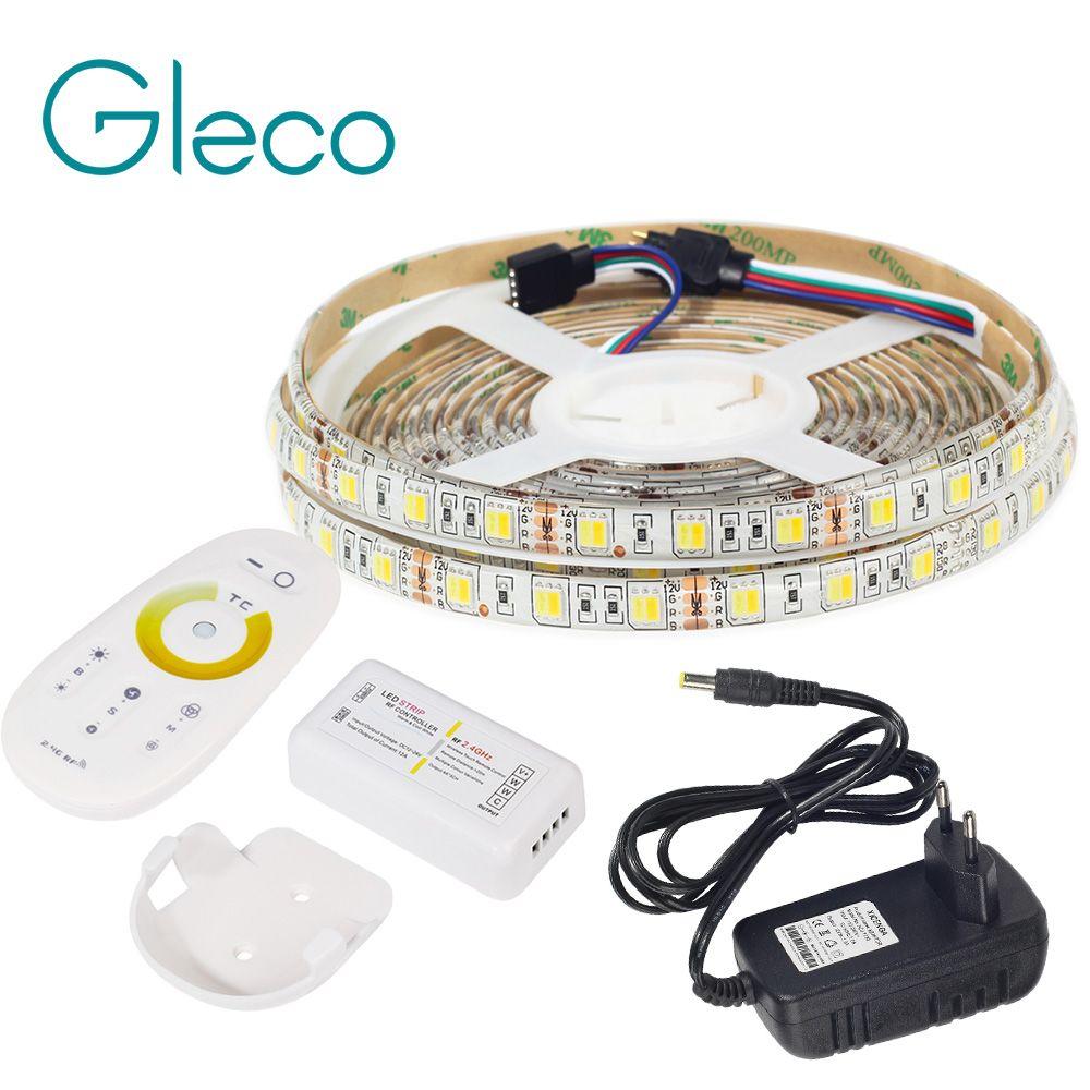 LED STRIP 5050 SET 2 IN 1 White+Warm white LED Strip Light 5050 CWW with 2.4G RF CCT Controller, 12V Power Supply EU Plug