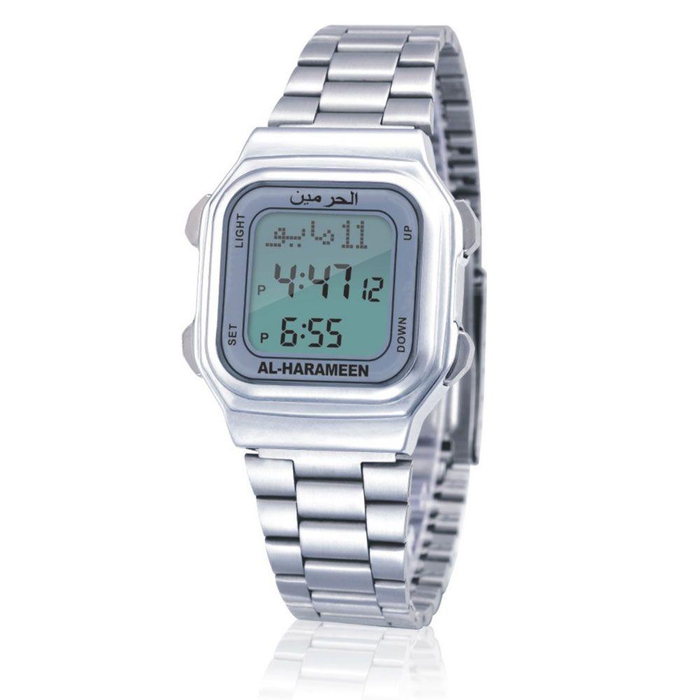 AL Harame Origin AL Harameen Unisex Muslim Azan Watch Prayer Wriste Watch 6464 Silver High Elegant Wterproof Best Nuslim Product