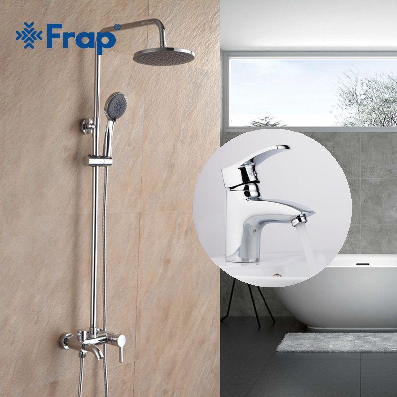 Frap New Faucet Combination Brass Single Hole Bathroom Basin Faucets with Bathroom Rainfall Shower Faucet Set F2416 F1070