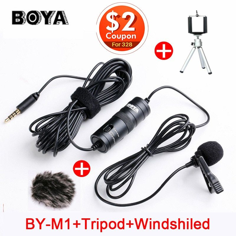 BOYA BY-M1 Lavalier Condenser Microphone for Canon Nikon DSLR Camcorders, Studio microphone for iPhone X 7 Plus Zoom H1N Handy
