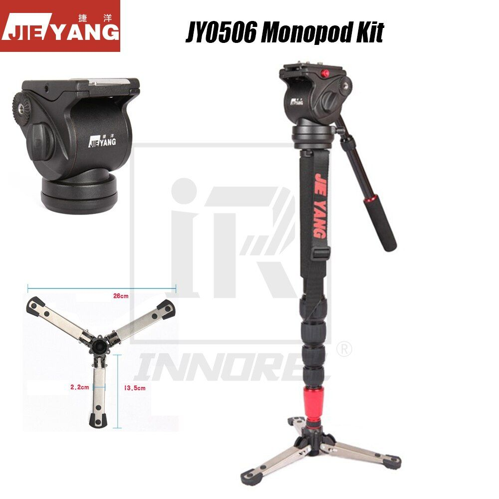 Classical JIEYANG JY0506 Professional Aluminum Alloy Monopod Kit Hydraulic Fluid Head For Video Camera DSLR Camcorder Tripod