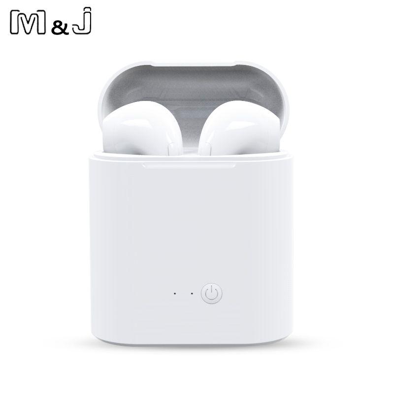 Vente chaude M & J i7 TWS Mini Sans Fil Bluetooth Écouteurs Stéréo Intra-auriculaires Casque Avec Boîte De Charge Micro Pour Tous Les téléphone intelligent