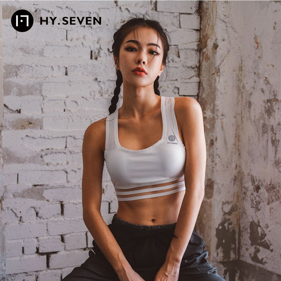 HY SEVEN White Black Yoga Bras Women Solid Sports Bra Breathable Fitness Tank Tops Push Up Running Bras Padded Athletic Tops