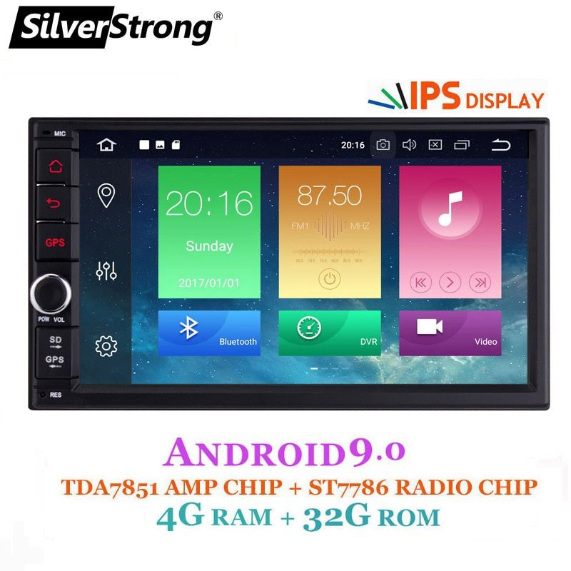 SilverStrong IPS Android9.0 Universal 2din Auto DVD OctaCore 4G 32G DSP Doppel DIN Auto GPS Radio Autoradio TPMS 706x30-x5