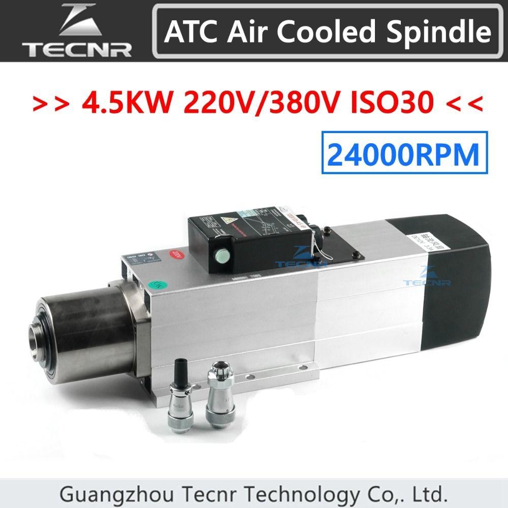 TECNR 4.5KW ATC luftgekühlten spindel motor 24000 rpm ISO30 220 v 380 v Automatische Werkzeug Ändern spindel für holz cnc router