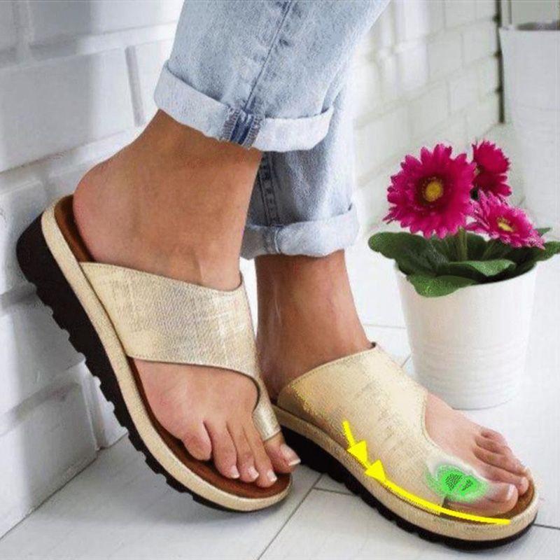 Femmes sandales PU cuir chaussures plate-forme plate semelle dames décontracté doux grand orteil Correction des pieds sandales orthopédiques Bunion correcteur