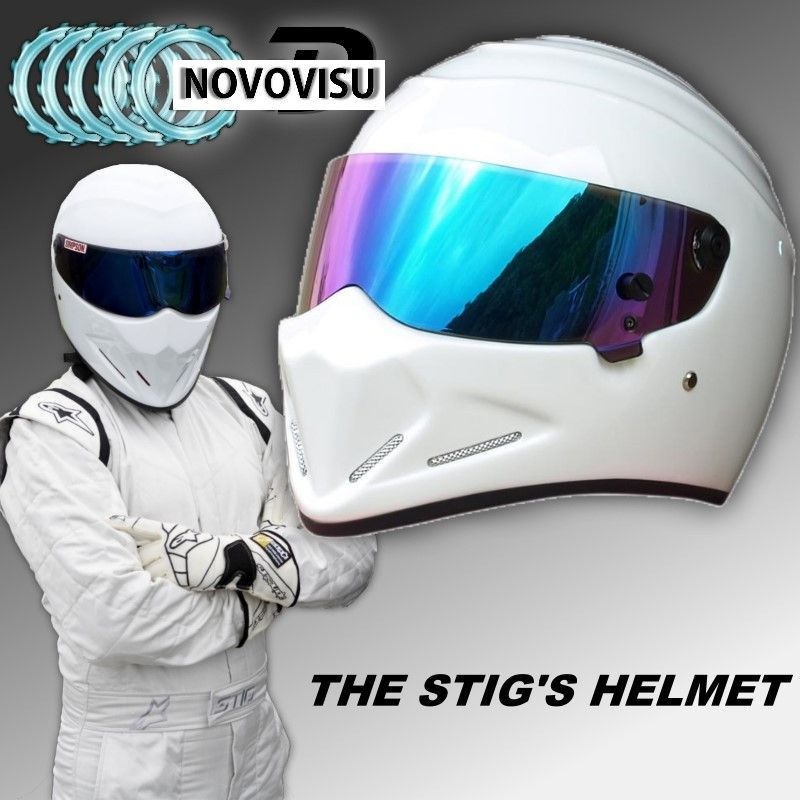 NOVOVISU The STIG Helmet / TG Fans's Collectable / Like as SIMPSON Pig / White Motorcycle Helmet with Colorful Visor Cosplay