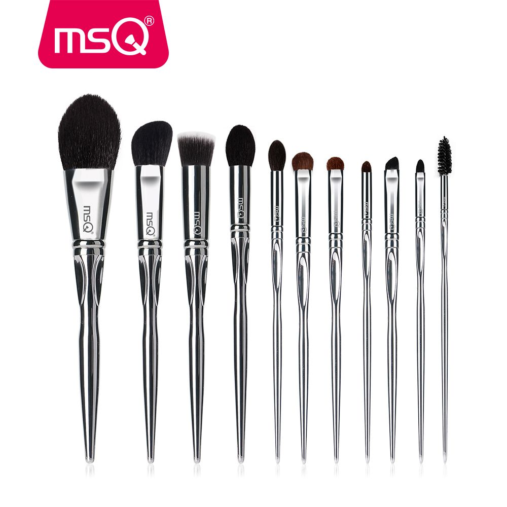 MSQ Professional 11pcs Powder Makeup Brushes Set Classic Eyeshadow Lip Foundation Make Up Brush Natural Hair Copper Ferrule