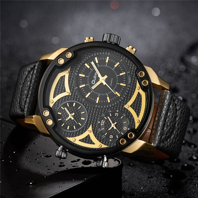 Oulm Three Time Zone Watches Men Luxury Brand Big Size Men's Wrist Watch Male Quartz Clock Unique Military Watches relogio