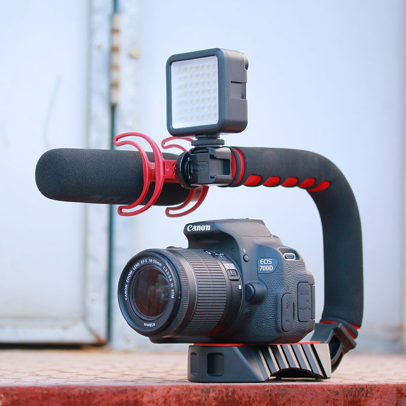 Stabilisateur de Steadicam Triple chaussure froide pour Smartphone portable u-grip pour Nikon Canon Sony A7 A9 DSLR Videomakers Vlog