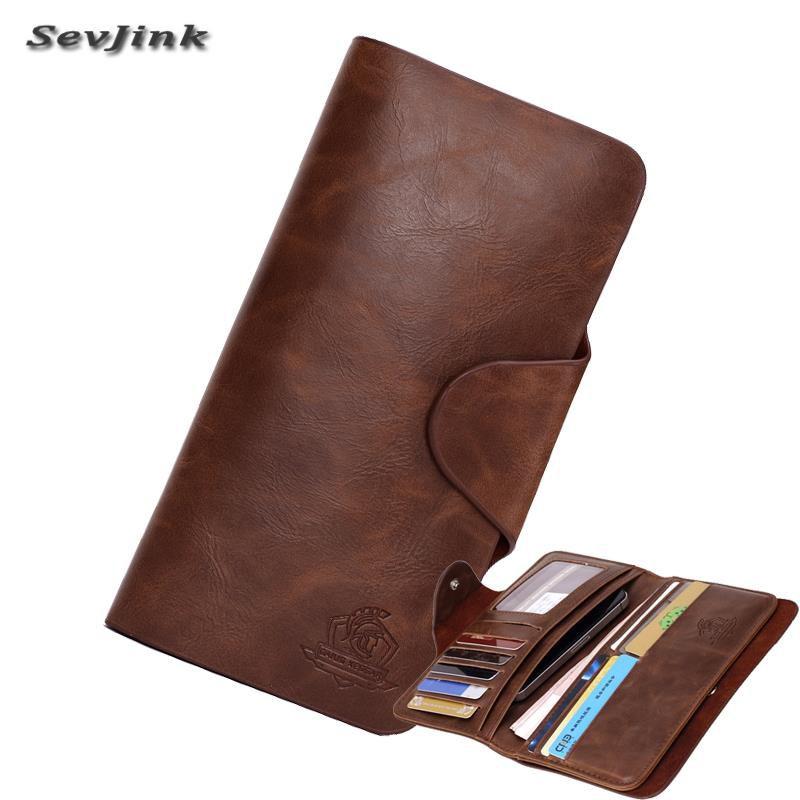 2019 nouveaux portefeuilles pour hommes en cuir véritable hommes coques de téléphone porte-carte Vintage Long embrayage porte-monnaie poche pour homme livraison gratuite