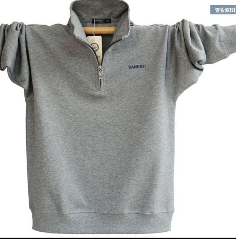 Hommes À Manches Longues Polo Marque de Haute Qualité, Plus La Taille Col montant Coton Chemises Hommes Zipper Camisa Polos Masculina A1108