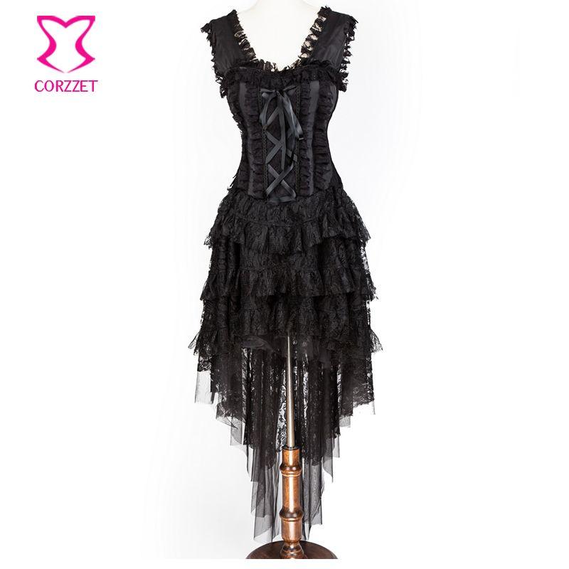 Corzzet Black Lace Bandage Steampunk Corset Skirt and Hem Burlesque Dance Corselet Costumes Women Party  Gothic Corset Dress