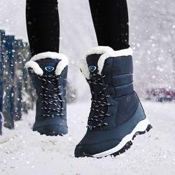 Mujeres botas antideslizantes impermeables botas de nieve del tobillo del invierno mujeres plataforma zapatos de invierno con piel gruesa botas mujer
