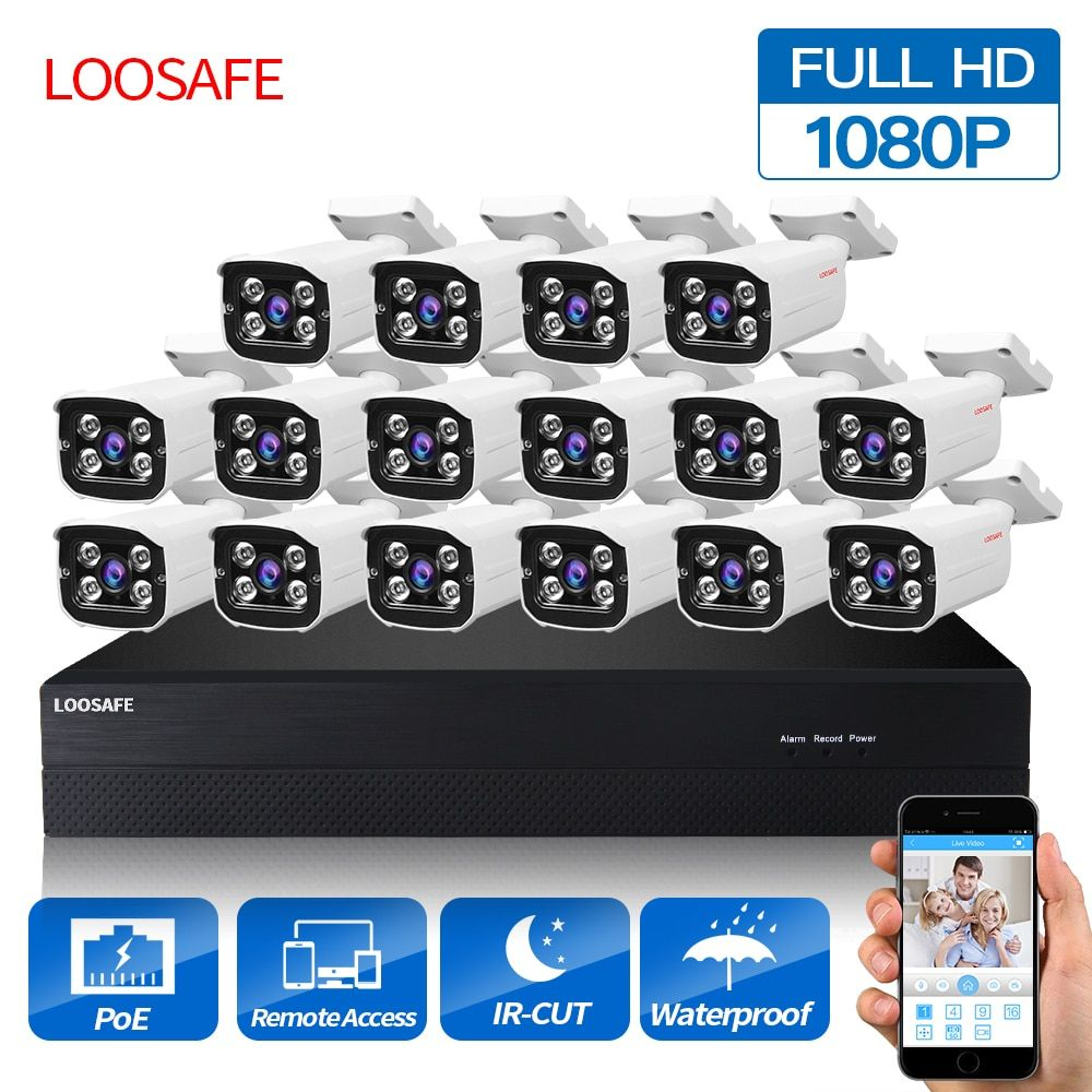 LOOSAFE POE Surveillance Cameras System 16CH 1080P Security Camera POE HD CCTV DVR 16PCS 2.0 MP IR Outdoor Security Camera Kit