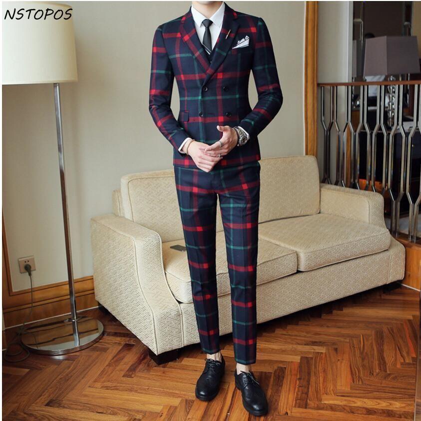 Rot Karierten Anzug Für Männer (Jacke + Weste + Hose) 2018 neue Partei Hochzeit Anzüge Männer Kostüm Mariage Homme Überprüfen Männlichen Anzug Britischen Stil