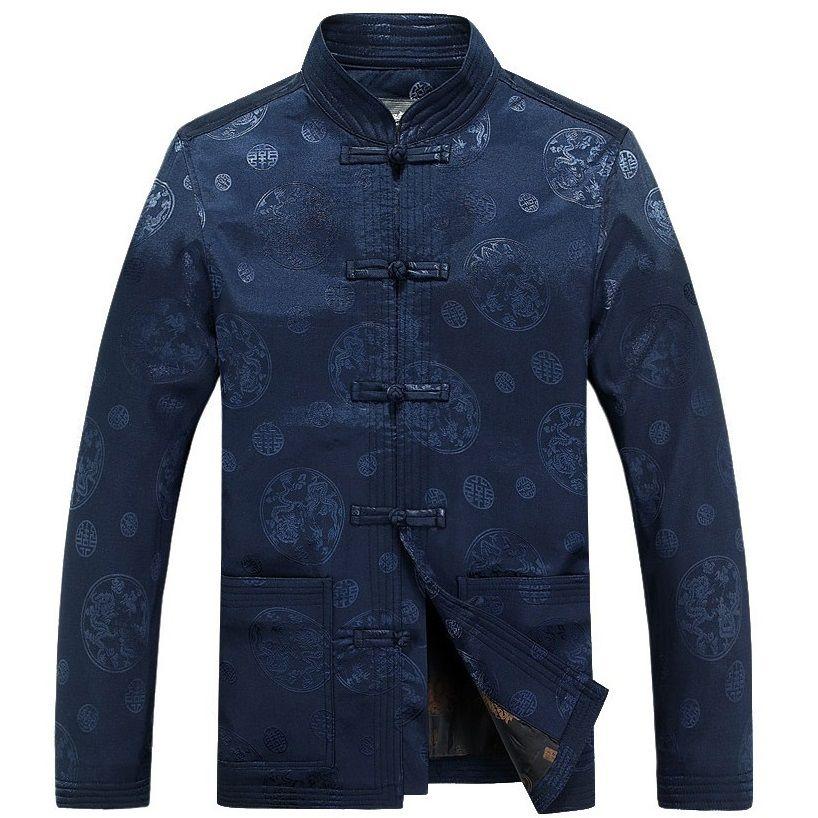 Otoño hombres ronda patrón de dragón shanghai tang ropa chaqueta de Mediana Edad de chinos han tang traje chino ropa oriental