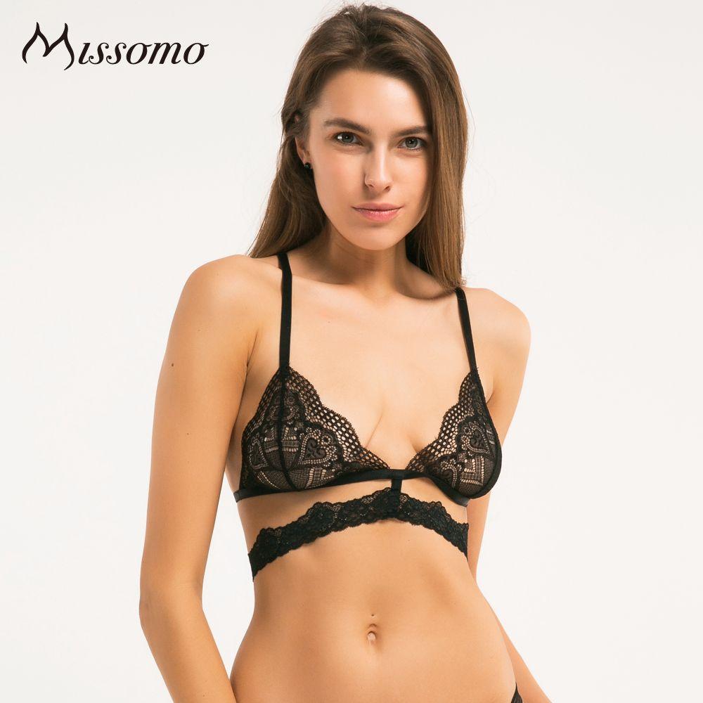 Missomo 2017 New Fashion Women Black Sexy Lace Jacquard Trim Bralette Adjustable Wide Straps Bras