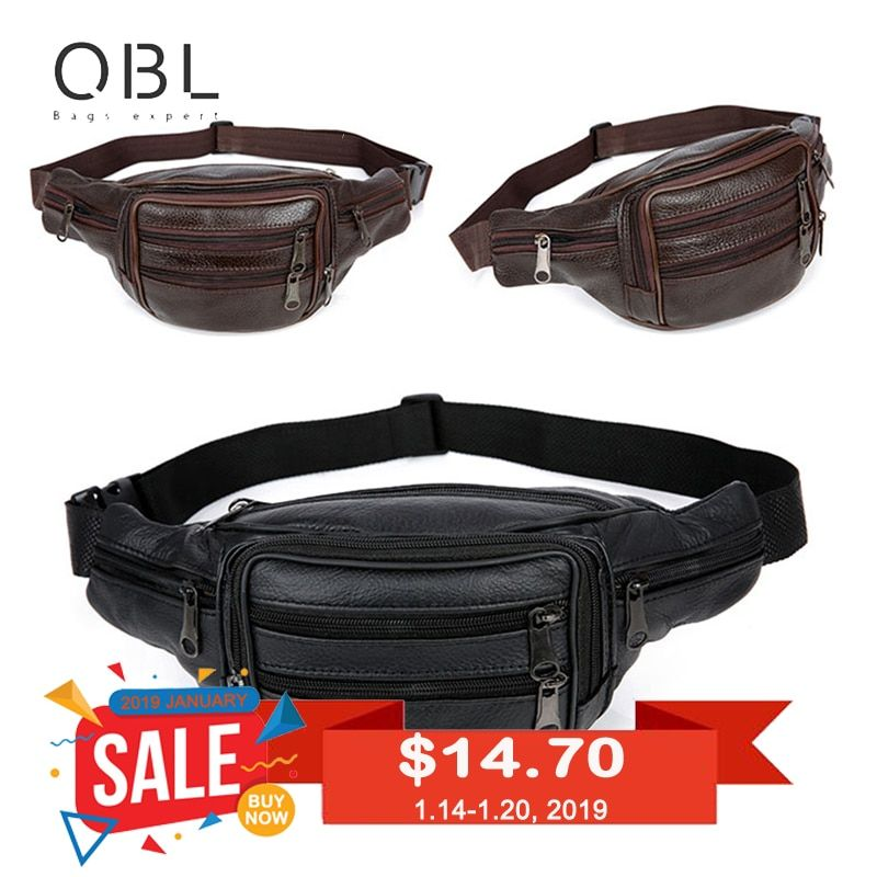 QiBoLu Cow Genuine Leather Waist Packs Fanny Pack Bum Belt Bag Men Pouch Pochetes Bolso Cintura Marsupio Uomo Banane Sac MBA59