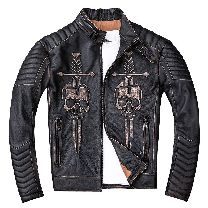 HARLEY ZWETSCHGE Vintage Schwarz Männer Schädel Biker der Leder Jacke Stehen Kragen Echtem Rinds Slim Fit Motorrad Leder Mantel