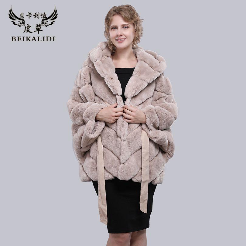 BEIKALIDI Women Real Rex Rabbit Fur Coat Women's Winter Shawl Female Natural Fur Bat Sleeved Coat Women Hooded Coat Jacket