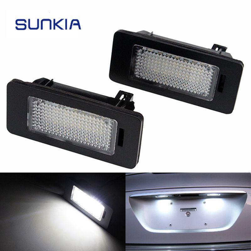 Sunkia 2 шт./компл. LED Номерные знаки для мотоциклов свет для BMW E39 E60 E61 E70 E82 E90 E92 24smd ошибок яркий белый цвет Лидер продаж