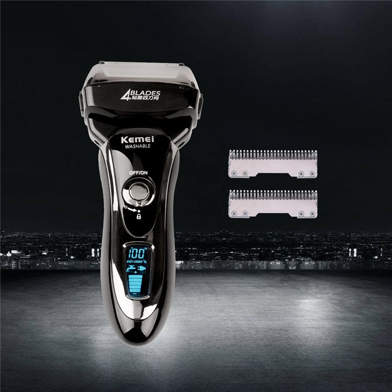 4 Blades Professional Wet & Dry Electric Shaver Rechargeable Razor Men Beard Trimmer Shaving Machine LCD Display+Extra Blade S50