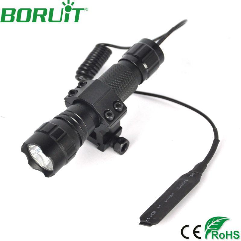 BORUiT 501B XML T6 LED lampe de poche tactique 5-Mode lanterne Portable Camping chasse torche lumière commutateur de pression à distance pistolet mont