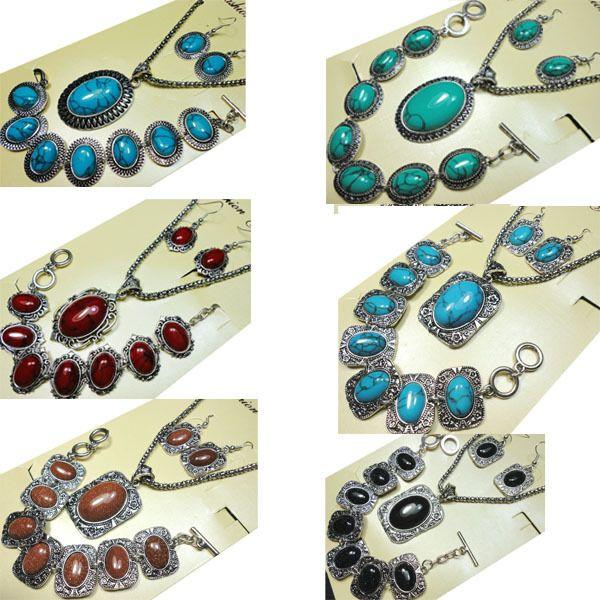 8 Styles Turquoisee Pierre Ensemble de Bijoux Vintage Antique Argent Collier Ensembles Pendentif Boucle D'oreille Bracelet Pour Femmes Grils Bijoux Ensembles