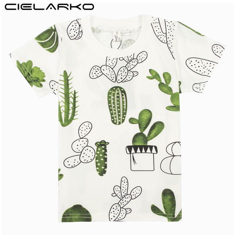 Cielarko Garçons T-Shirt Enfants De Base T Chemises de Bande Dessinée Cactus Top t-shirts Enfants Sport Vêtements Bébé Garçon Conception Chemises pour 3-8 ans