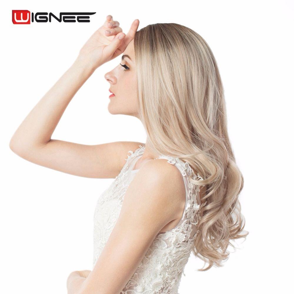 Wignee Longue Ombre Brun Cendres Blonde de Densité À Haute Température Synthétique Perruque Pour Noir/Blanc Femmes Sans Colle Ondulés Cosplay Cheveux perruque