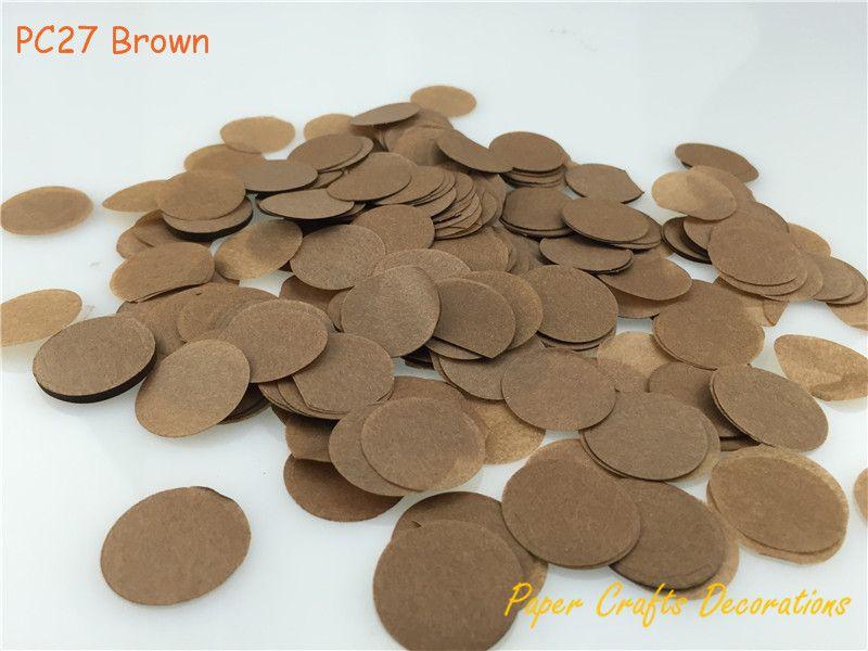 1 кг/лот 2.5 см (1 дюйм) коричневой ткани Бумага конфетти круги бросали День рождения Выпускной Юбилей Аксессуары