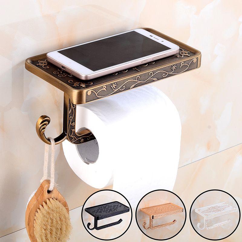 Bathroom Toilet Holder Paper Towel Holder Paper Hook And Phone Holder Chrome/Gold Mount Toilet Paper Holder Bathroom Hardware