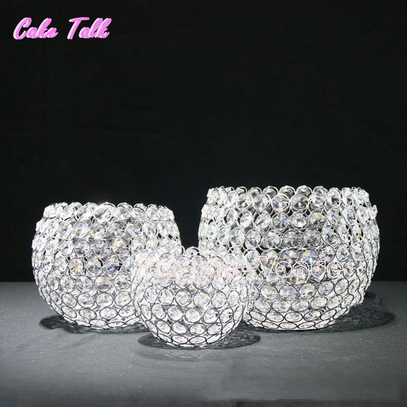 Bougeoirs de boule de cristal en métal argenté style de l'europe décoration de la maison ornements de barre de bonbons fournisseur de fête